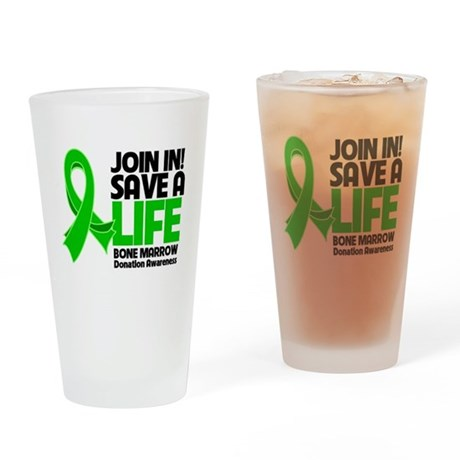 Save a Life Bone Marrow Drinking Glass