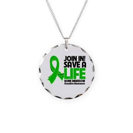 Save a Life Bone Marrow Necklace Circle Charm