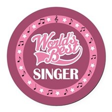 Worlds Best Singer Choir Gift Round Car Magnet