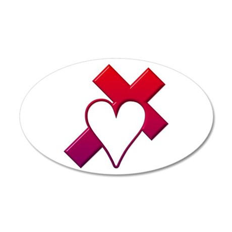 Red Cross with Heart 20x12 Oval Wall Decal