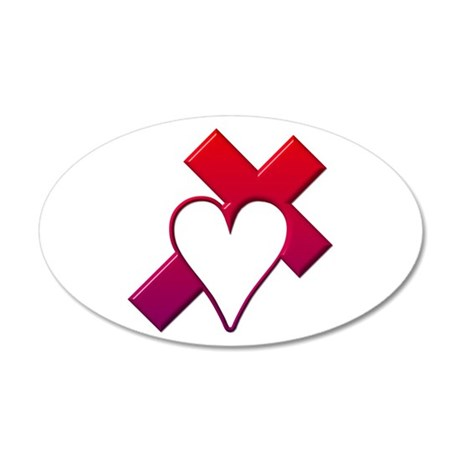 Red Cross with Heart 35x21 Oval Wall Decal