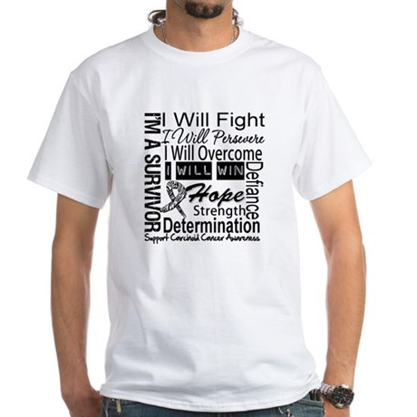 Carcinoid Cancer Persevere White T-Shirt