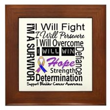 Bladder Cancer Persevere Framed Tile