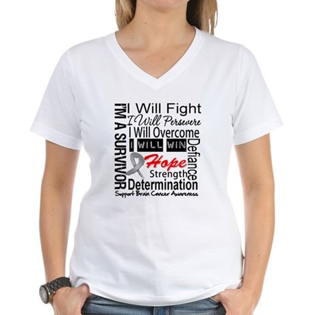 Brain Cancer Persevere Women's V-Neck T-Shirt