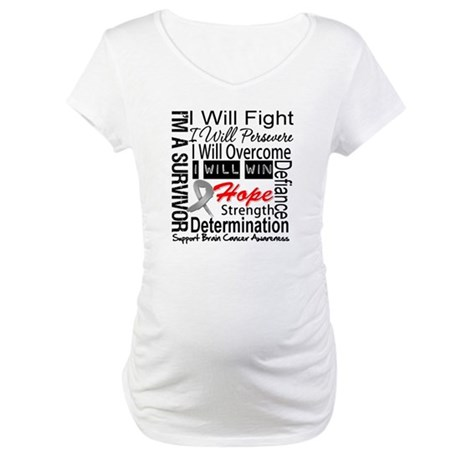 Brain Cancer Persevere Maternity T-Shirt