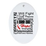 Oral Cancer Persevere Ornament (Oval)
