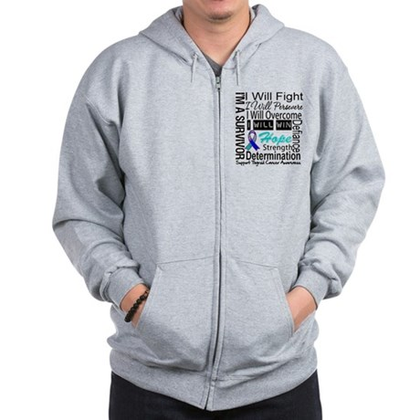 Thyroid Cancer Persevere Zip Hoodie