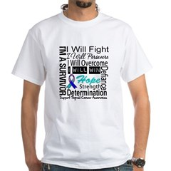 Thyroid Cancer Persevere White T-Shirt