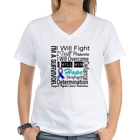 Thyroid Cancer Persevere Women's V-Neck T-Shirt