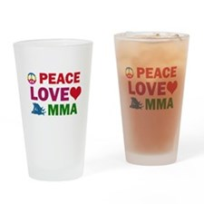 Peace Love MMA Designs Drinking Glass