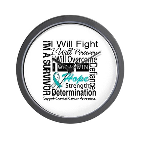 Cervical Cancer Persevere Wall Clock