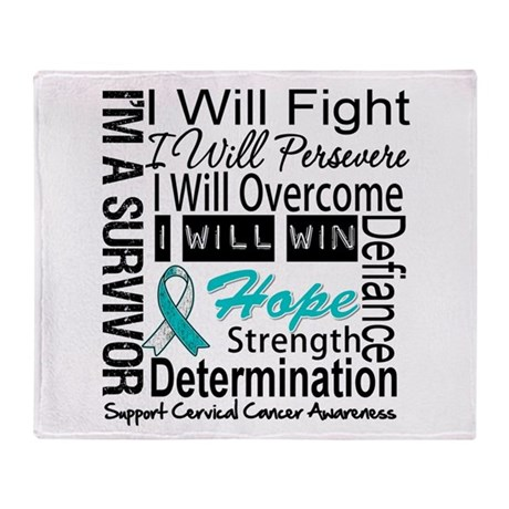 Cervical Cancer Persevere Throw Blanket
