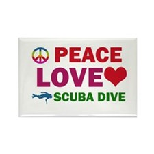 Peace Love Scuba Dive Designs Rectangle Magnet