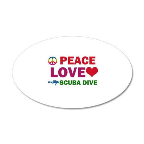 Peace Love Scuba Dive Designs 20x12 Oval Wall Deca
