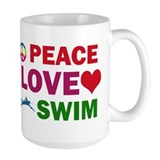 Peace Love Swim Designs Ceramic Mugs