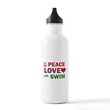 Peace Love Swim Designs Water Bottle