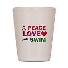 Peace Love Swim Designs Shot Glass