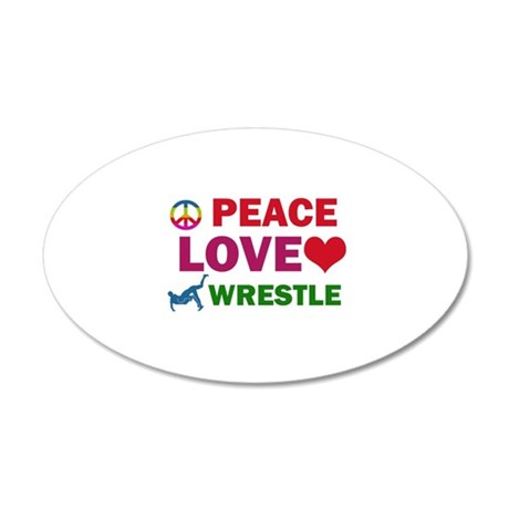 Peace Love Wrestle Designs 20x12 Oval Wall Decal