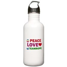 Peace Love Teamrope Designs Water Bottle