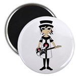 "Mod Girl Guitarist 2.25"" Magnet (10 pack)"