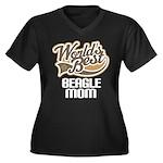 Beagle Mom (Worlds Best) Women's Plus Size V-Neck