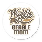 Beagle Mom (Worlds Best) Round Car Magnet