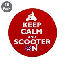 """Keep Calm Scooter On (2) 3.5"""" Button (10 pack)"""