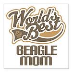 "Beagle Mom (Worlds Best) Square Car Magnet 3"" x 3"""