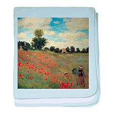 Monet Wild Poppies (detail) baby blanket