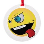 Intense Smiley Face Round Ornament