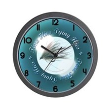 time flies tying flies Wall Clock