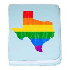 Texas Rainbow Pride Flag And Map baby blanket
