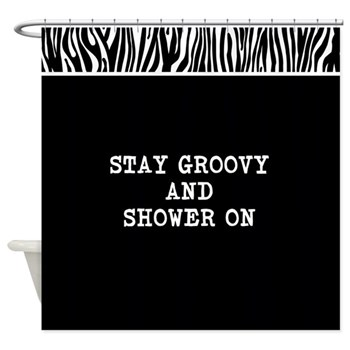 Stay Groovy and Shower on Zebra Shower Curtain