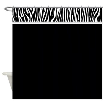 Black shower curtain with zebra print top border
