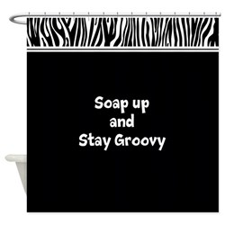 Soap up and Stay Groovy Zebra Shower Curtain