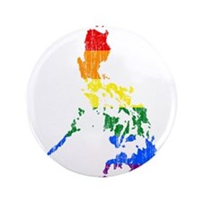 "Philippines Rainbow Pride Flag And Map 3.5"" Button"