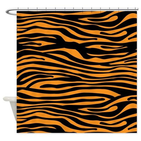 orange zebra tiger stripe shower curtain