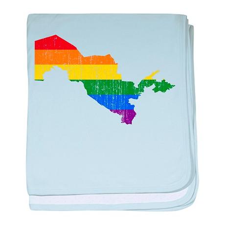Uzbekistan Rainbow Pride Flag And Map baby blanket