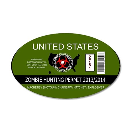 zombie hunting permit oval 35x21 Oval Wall Decal