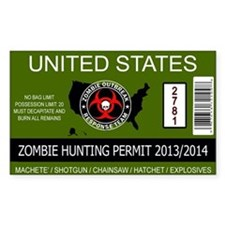 zombie permit rectangle Bumper Stickers
