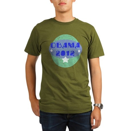 Blue Green Obama 2012 Organic Men's T-Shirt (dark)