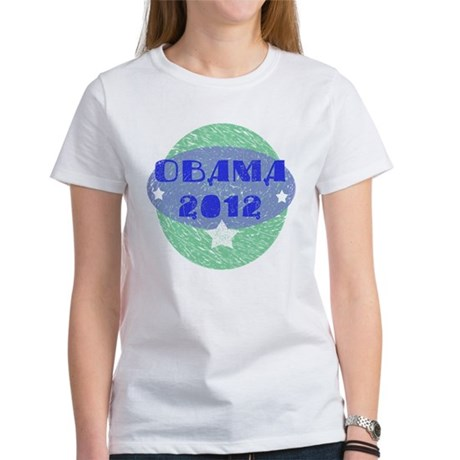 Blue Green Obama 2012 Women's T-Shirt
