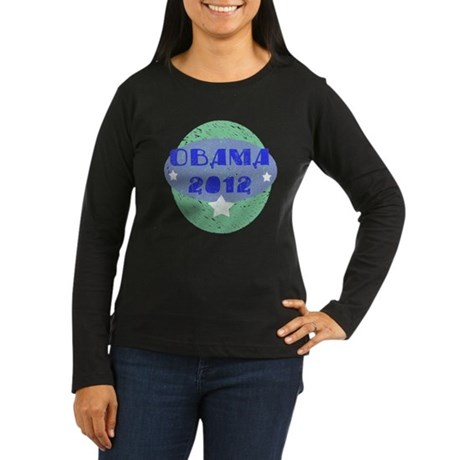 Blue Green Obama 2012 Women's Long Sleeve Dark T-S