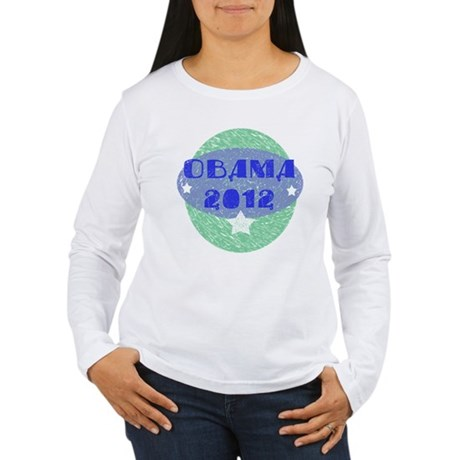 Blue Green Obama 2012 Women's Long Sleeve T-Shirt