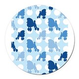 blue_Poodle_ipad.png Round Car Magnet