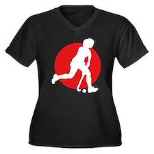female hockey player Women's Plus Size V-Neck Dark