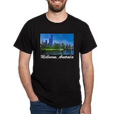 Melbourne Skyline Painting Black T-Shirt