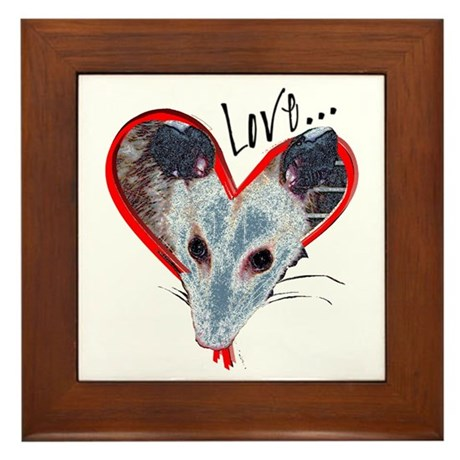 Possum Love Framed Tile