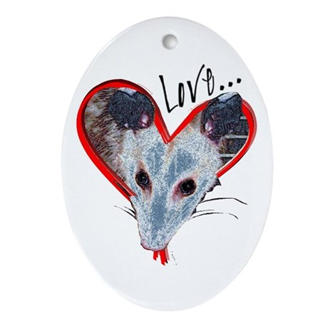 Possum Love Oval Ornament