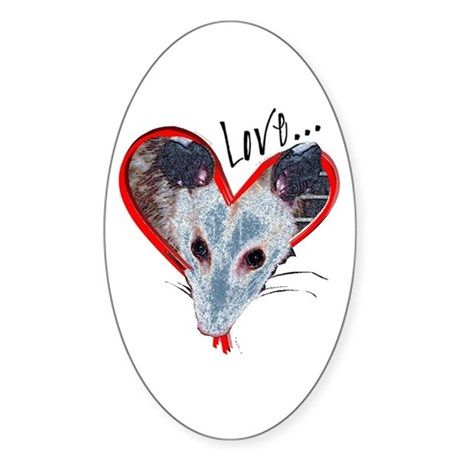 Possum Love Oval Sticker